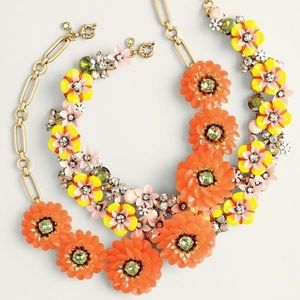 J Crew Orange Floral statement Necklace